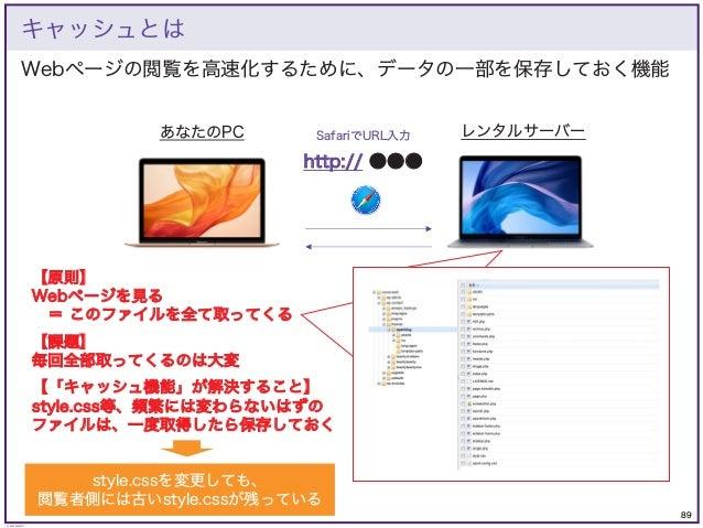 89 © KAZUKI SAITO 【原則】 Webページを見る = このファイルを全て取ってくる 【課題】 毎回全部取ってくるのは大変 【「キャッシュ機能」が解決すること】 style.css等、頻繁には変わらないはずの ファイルは、一度取得...