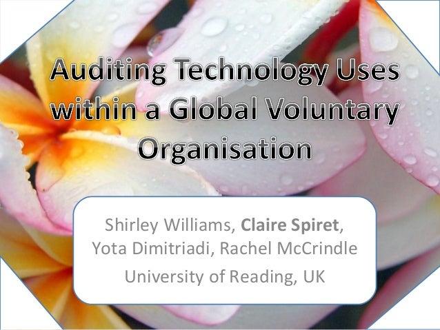 Shirley Williams, Claire Spiret,Yota Dimitriadi, Rachel McCrindle    University of Reading, UK