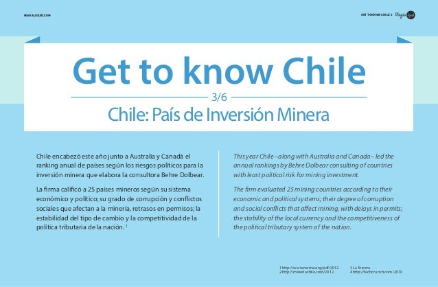 GET TO KNOW CHILE 3  MAGIALIQUID.COM  Get to know Chile 3/6  Chile: País de Inversión Minera Chile encabezó este año junto...