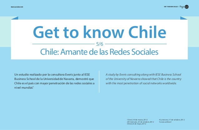 GET TO KNOW CHILE 5  MAGIALIQUID.COM  Get to know Chile 5/6  Chile: Amante de las Redes Sociales Un estudio realizado por ...