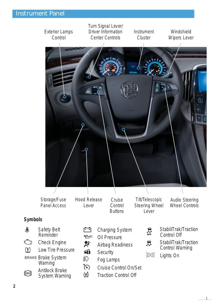 getting to know your 2012 buick lacrosse denotes optional equipment buick com 2 instrument panel