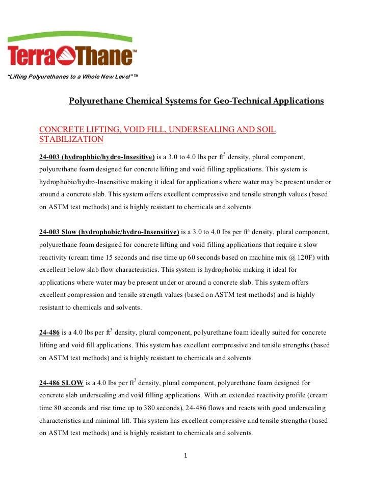 """""""Lifting Polyurethanes to a Whole New Level""""™                     PolyurethaneChemicalSystemsforGeo‐TechnicalApplicat..."""