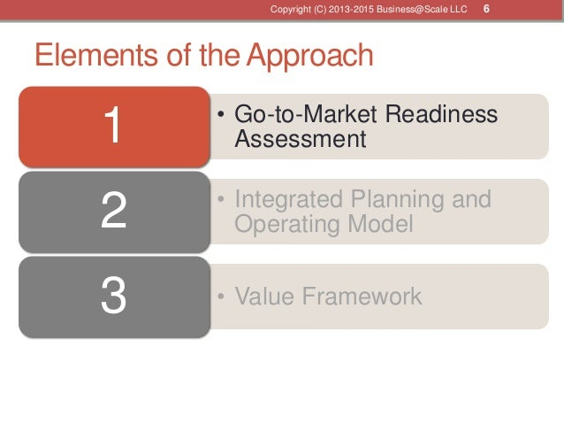 Elements of the Approach • Go-to-Market Readiness Assessment1 • Integrated Planning and Operating Model2 • Value Framework...
