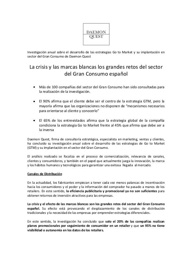 Investigación anual sobre el desarrollo de las estrategias Go to Market y su implantación en sector del Gran Consumo de Da...