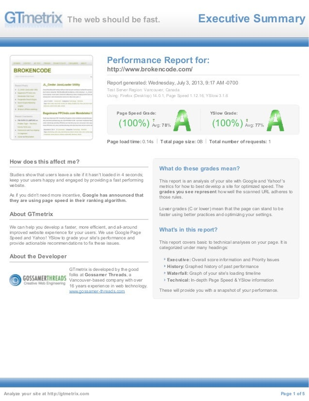 Executive SummaryThe web should be fast. (100%) Page Speed Grade: Avg: 78% (100%) YSlow Grade: Avg: 77% Performance Report...