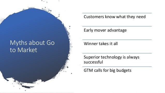 Myths about Go to Market Customers know what they need Early mover advantage Winner takes it all Superior technology is al...