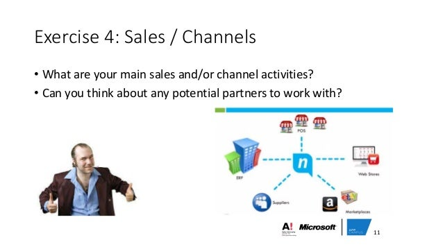 Exercise 4: Sales / Channels • What are your main sales and/or channel activities? • Can you think about any potential par...