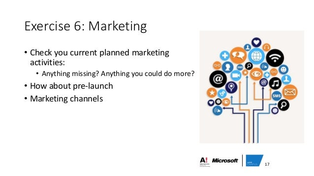 Exercise 6: Marketing • Check you current planned marketing activities: • Anything missing? Anything you could do more? • ...