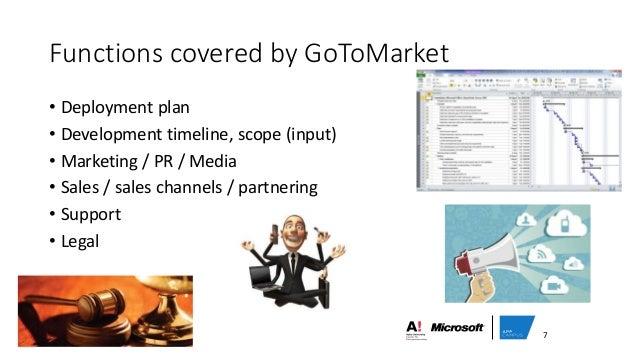 Functions covered by GoToMarket • Deployment plan • Development timeline, scope (input) • Marketing / PR / Media • Sales /...