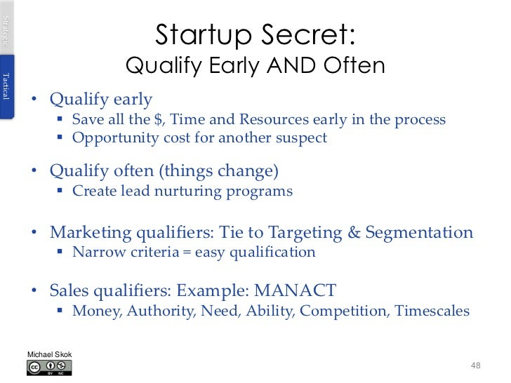 Startup Secret:Strategic                             Qualify Early AND OftenTactical            • Qualify early           ...