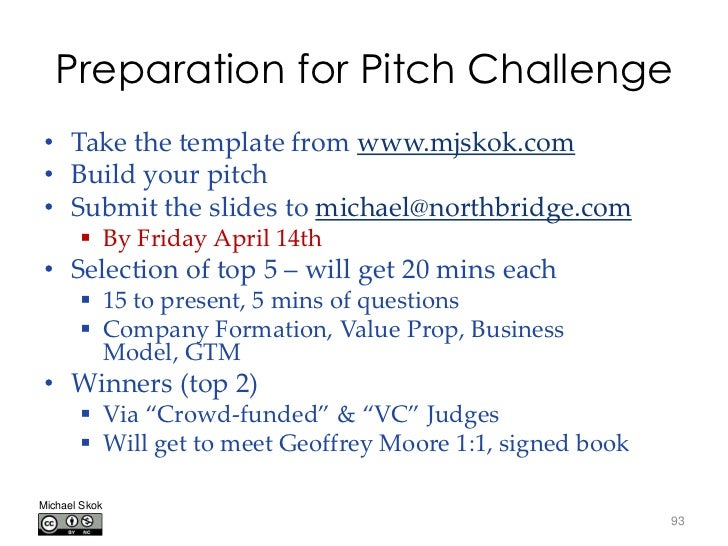 Preparation for Pitch Challenge• Take the template from www.mjskok.com• Build your pitch• Submit the slides to michael@nor...