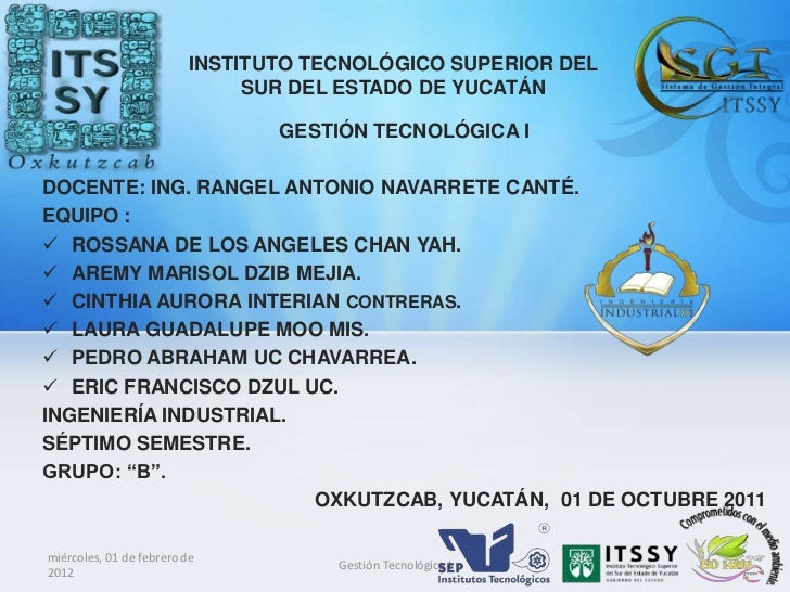 INSTITUTO TECNOLÓGICO SUPERIOR DEL                              SUR DEL ESTADO DE YUCATÁN                                G...