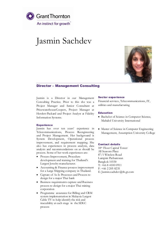 Jasmin Sachdev Director – Management Consulting Jasmin is a Director in our Management Consulting Practice. Prior to this ...