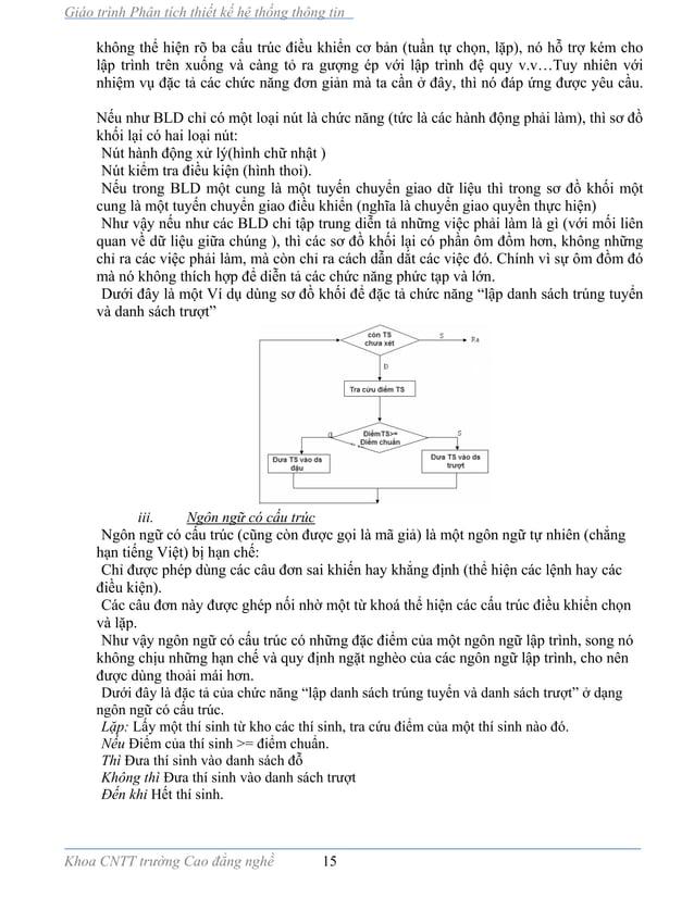 Giáo trình Phân tích thiết kế hệ thống thông tin Khoa CNTT trường Cao đẳng nghề 15 không thể hiện rõ ba cấu trúc điều khiể...