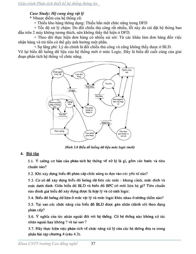 Giáo trình Phân tích thiết kế hệ thống thông tin Khoa CNTT trường Cao đẳng nghề 37 Case Study: Hệ cung ứng vật lý * Nhược ...