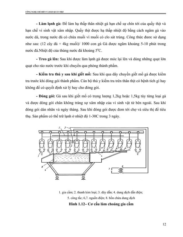 CÔNG NGHỆ CHẾ BIẾN VÀ BẢO QUẢN THỊT - Làm lạnh gà: Để làm hạ thấp thân nhiệt gà hạn chế sự chín tới của quầy thịt và hạn c...