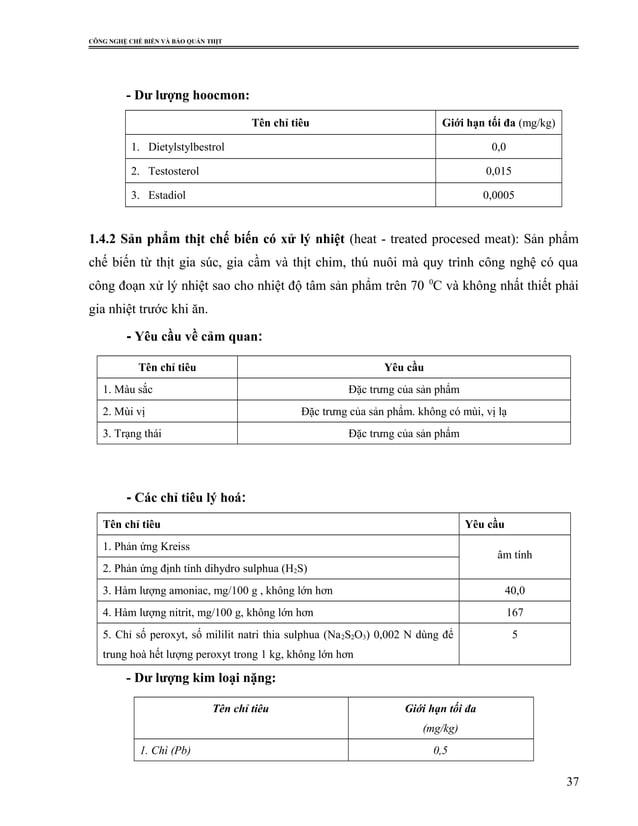 CÔNG NGHỆ CHẾ BIẾN VÀ BẢO QUẢN THỊT - Dư lượng hoocmon: Tên chỉ tiêu Giới hạn tối đa (mg/kg) 1. Dietylstylbestrol 0,0 2. T...