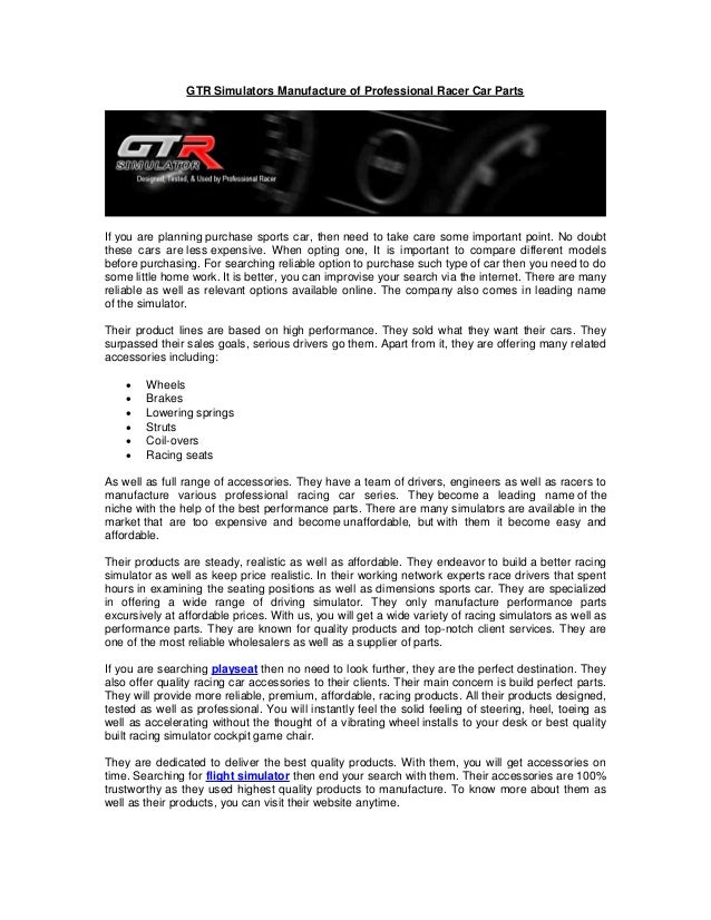 Gtr Simulators Manufacture Of Professional Racer Car Parts