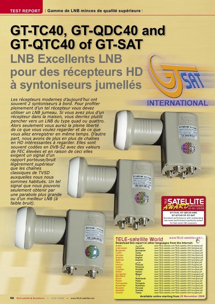TEST REPORT                  Gamme de LNB minces de qualité supérieure     GT-TC40, GT-QDC40 and GT-QTC40 of GT-SAT LNB Ex...