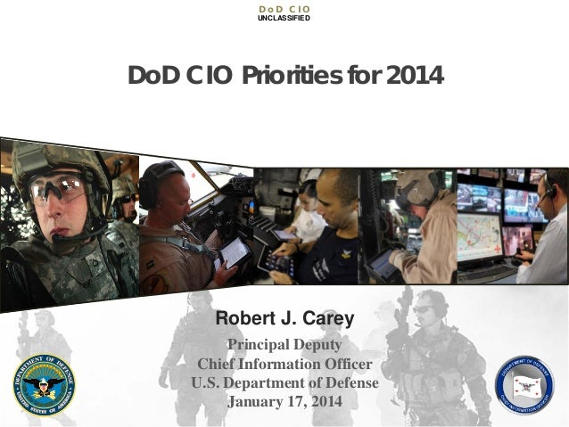 DoD CIO UNCLASSIFIED  DoD CIO Priorities for 2014  Robert J. Carey Principal Deputy Chief Information Officer U.S. Departm...