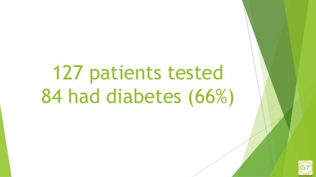 127 patients tested 84 had diabetes (66%)