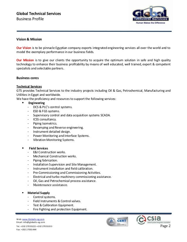 ... 2. Global Technical Services Business Profile ...  Company Profile Format Word Document