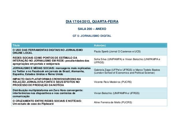DIA 17/04/2013, QUARTA-FEIRA                                                  SALA 200 – ANEXO                            ...