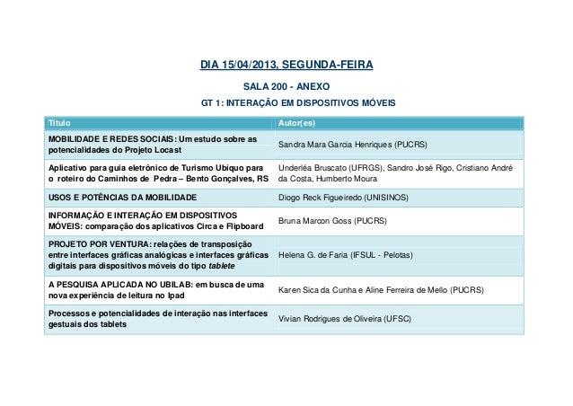 DIA 15/04/2013, SEGUNDA-FEIRA                                                   SALA 200 - ANEXO                          ...