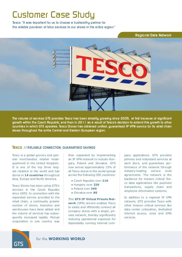 "Customer Case StudyTesco: ""It was important for us to choose a trustworthy partner forthe reliable provision of telco serv..."