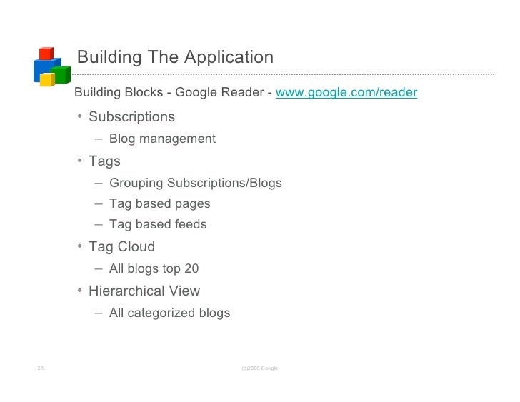 Building The Application      Building Blocks - Google Reader - www.google.com/reader      • Subscriptions         – Blog ...