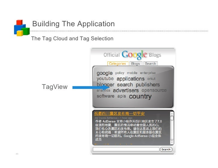 Building The Application      The Tag Cloud and Tag Selection              TagView     45                             (c)2...