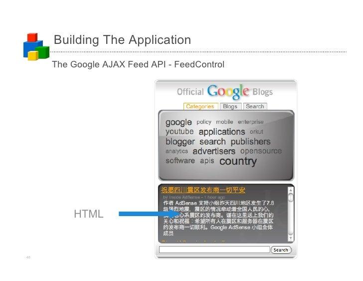 Building The Application      The Google AJAX Feed API - FeedControl              HTML   48                            (c)...