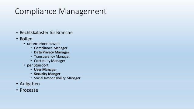 Compliance Management • Rechtskataster für Branche • Rollen • unternehmensweit • Compliance Manager • Data Privacy Manager...