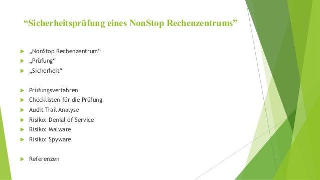"""""""Sicherheitsprüfung eines NonStop Rechenzentrums""""   """"NonStop Rechenzentrum""""   """"Prüfung""""   """"Sicherheit""""   Prüfungsverfa..."""