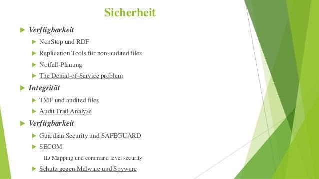 Sicherheit   Verfügbarkeit   NonStop und RDF   Replication Tools für non-audited files   Notfall-Planung   The Denial...