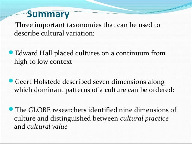the summary of geert hofstede Hofstede's' cultural dimension summary geert hofstede's research gives us  insights into other cultures so that we can be more effective when interacting with .