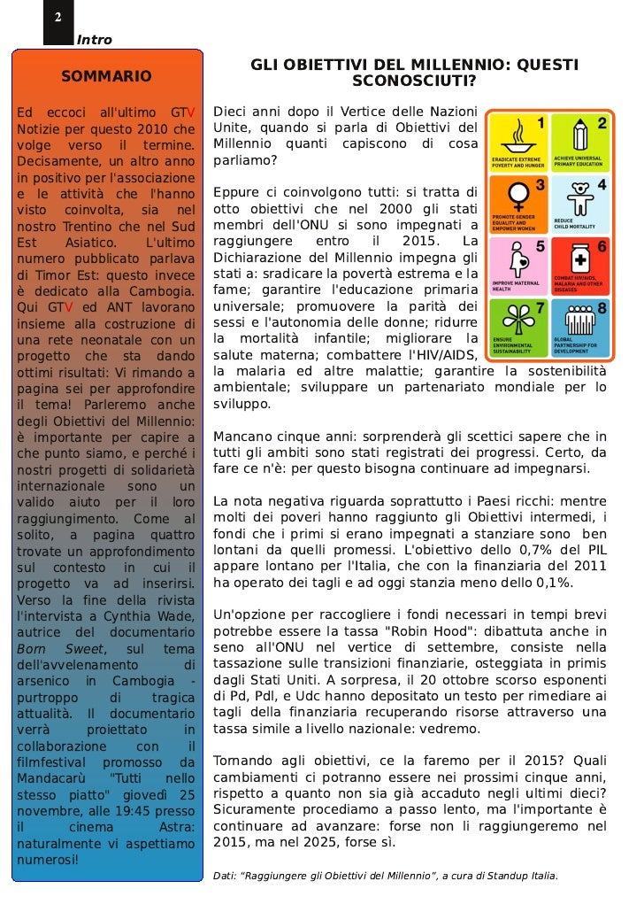 2           Intro        SOMMARIO                            GLI OBIETTIVI DEL MILLENNIO: QUESTI                          ...