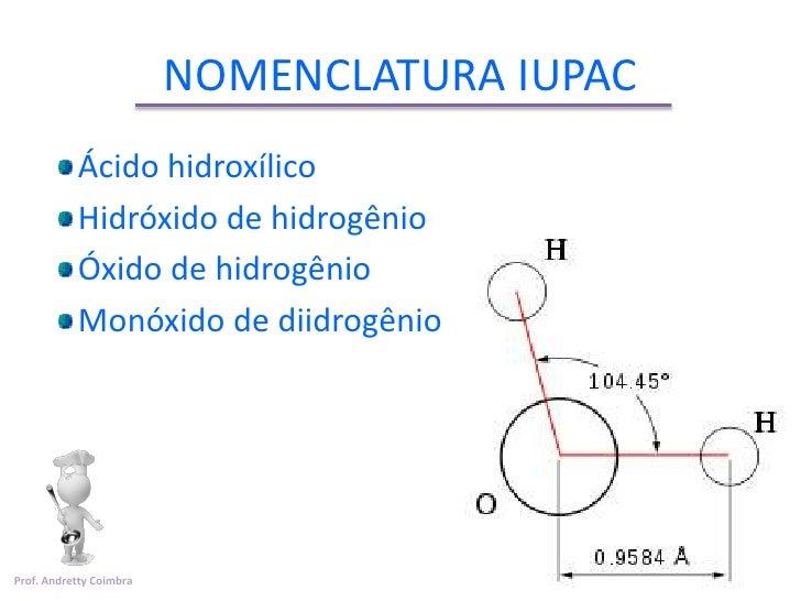 NOMENCLATURA IUPAC           Ácido hidroxílico           Hidróxido de hidrogênio           Óxido de hidrogênio           M...