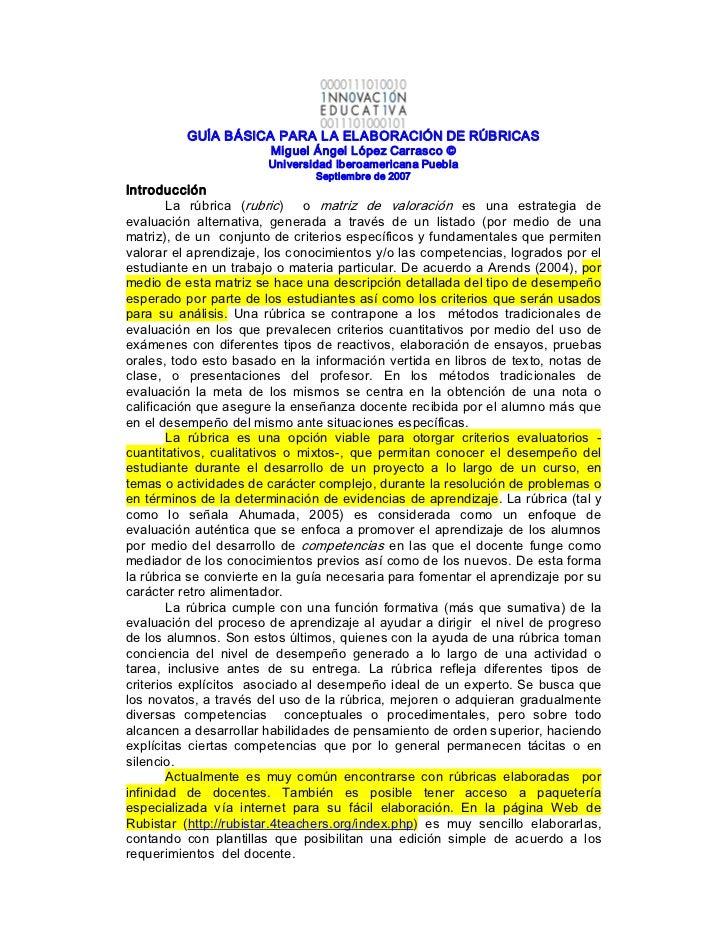 GUÍABÁSICAPARALAELABORACIÓNDERÚBRICAS                          MiguelÁngelLópezCarrasco©                      ...