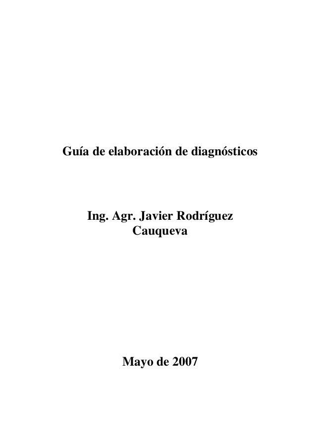 Guía de elaboración de diagnósticos  Ing. Agr. Javier Rodríguez  Cauqueva  Mayo de 2007