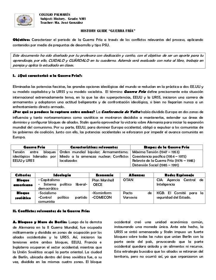 COLEGIO PALMARÉS                 Subject: History. Grade: NM1                 Teacher: Ma. José González                  ...