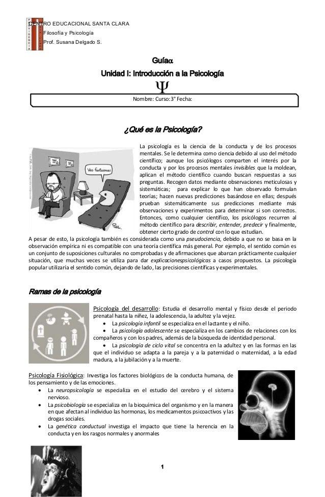 CENTRO EDUCACIONAL SANTA CLARA      Filosofía y Psicología      Prof. Susana Delgado S.                                   ...