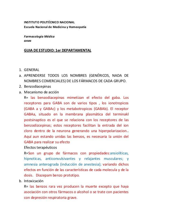 INSTITUTO POLITÉCNICO NACIONAL   Escuela Nacional de Medicina y Homeopatía   Farmacología Médica   6HM4   GUIA DE ESTUDIO:...