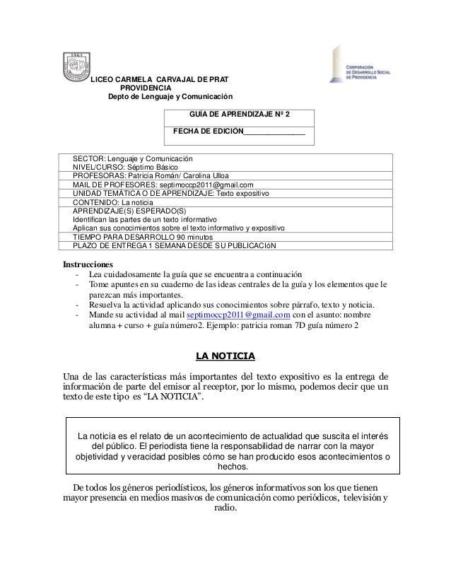 LICEO CARMELA CARVAJAL DE PRAT PROVIDENCIA Depto de Lenguaje y Comunicación GUÍA DE APRENDIZAJE Nº 2 FECHA DE EDICIÓN_____...
