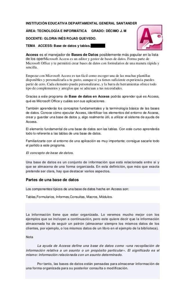INSTITUCIÓN EDUCATIVA DEPARTAMENTAL GENERAL SANTANDERÁREA: TECNOLOGÍA E INFORMÁTICA               GRADO: DÉCIMO J. MDOCENT...