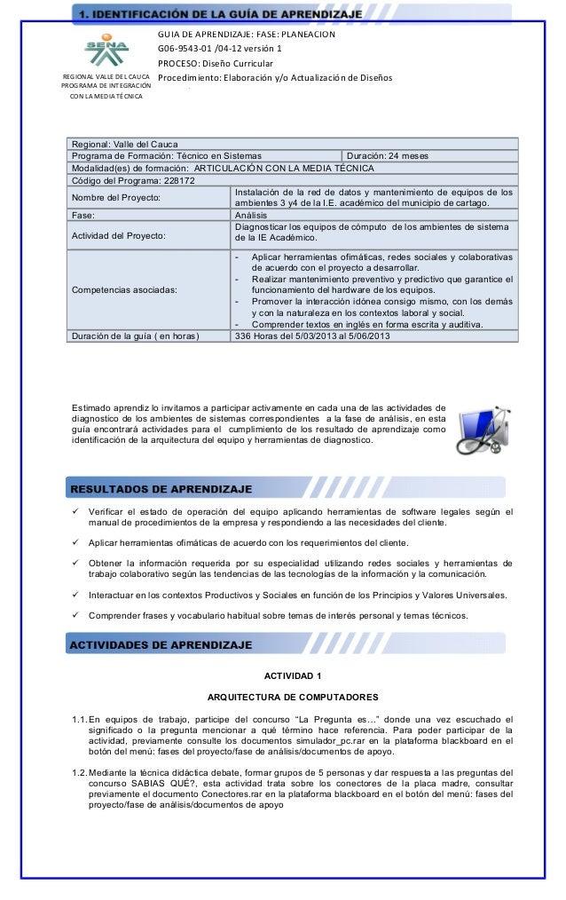 REGIONAL VALLE DEL CAUCAPROGRAMA DE INTEGRACIÓNCON LA MEDIA TÉCNICAGUIA DE APRENDIZAJE: FASE: PLANEACIÓNG06-9543-01 /04-12...