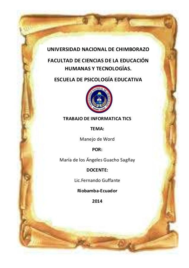 UNIVERSIDAD NACIONAL DE CHIMBORAZO FACULTAD DE CIENCIAS DE LA EDUCACIÓN HUMANAS Y TECNOLOGÍAS. ESCUELA DE PSICOLOGÍA EDUCA...