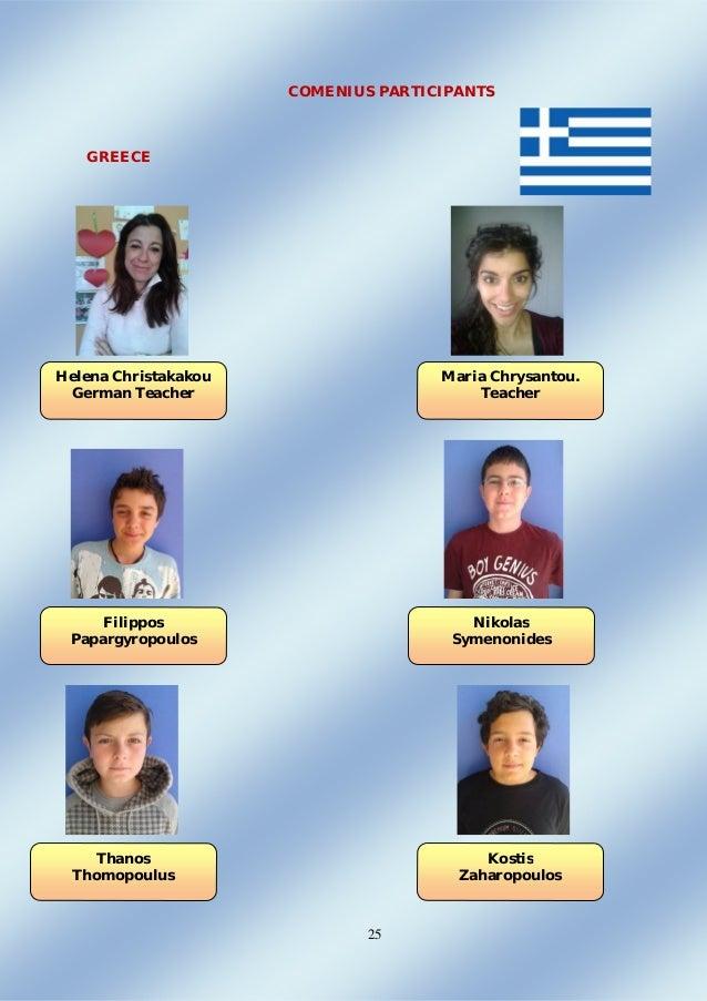 25 COMENIUS PARTICIPANTS GREECE Helena Christakakou German Teacher Maria Chrysantou. Teacher Filippos Papargyropoulos Niko...