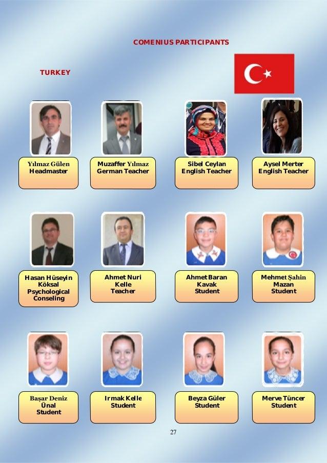 27 COMENIUS PARTICIPANTS TURKEY Yılmaz Gülen Headmaster Muzaffer Yılmaz German Teacher Sibel Ceylan English Teacher Aysel ...