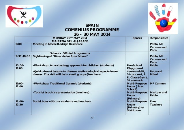 30 SPAIN COMENIUS PROGRAMME 26 – 30 MAY 2014 MONDAY 26TH MAY 2014 MAIRENA DEL ALJARAFE Spaces Responsibles 9:00 Meeting in...